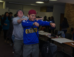 Sebatian Riquelme and Stephano Edwards dancing to Mambo No.5 during Speed Friending session. Photo by Ashley Costello.