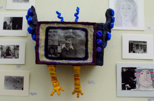 Aliyah Roybal's piece made with newspaper, plaster, wire and cardboard. Photo by Ashley Costello.