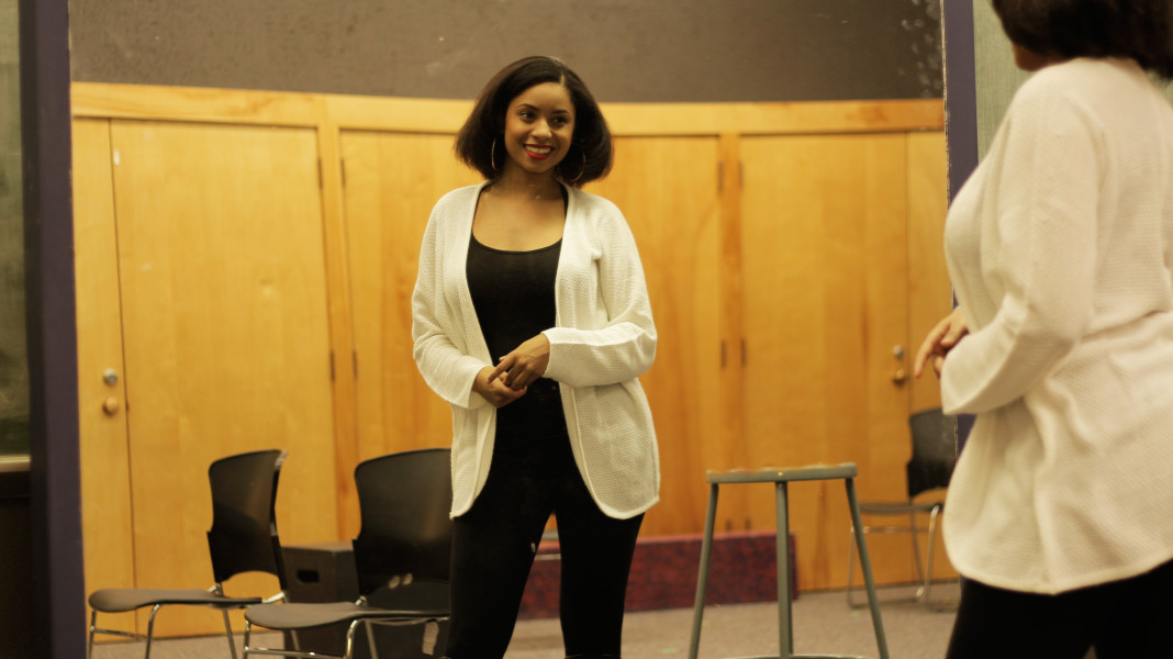 Shenyse Harris reciting a Shakespearean monologue for her graduate school auditions. Photo by: Cydnie Smith-McCarthy