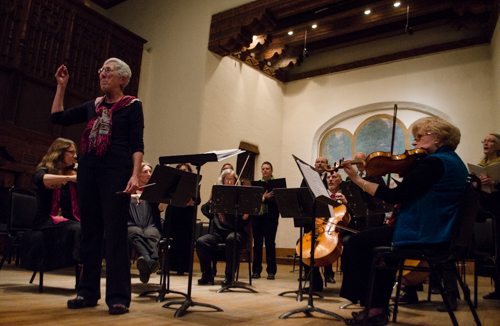Mary Badarak and Santa Fe Music Works lead in singing Happy Birthday to Bach.  Photo by Ashley Costello.
