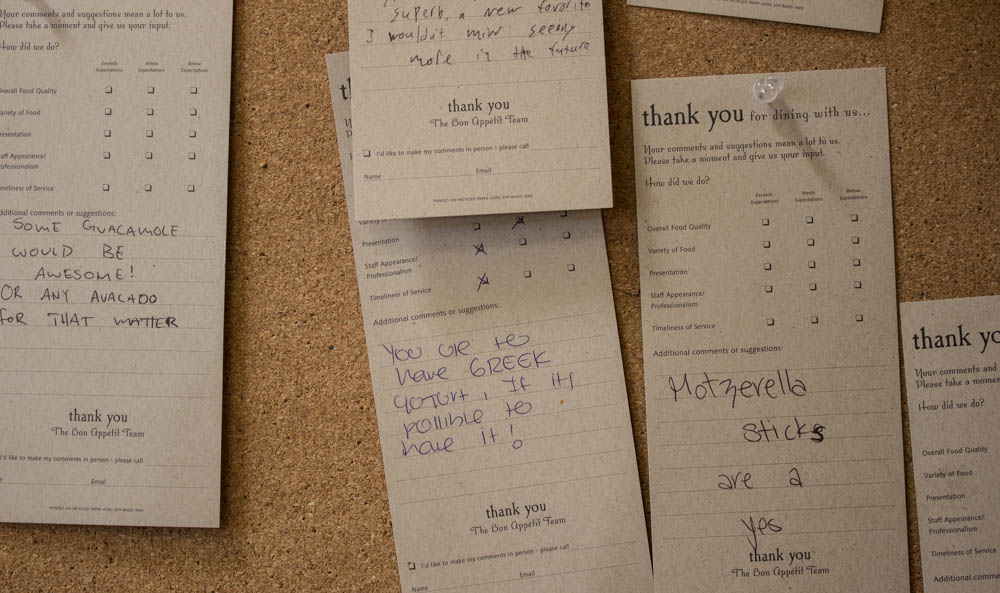 Message board in the cafeteria where students write suggestions about the food. Photo by Kyleigh Carter
