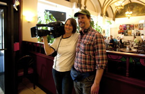 Co-Directors Hank Rogerson and Jilann Spitzmiller take a break from shooting rehearsals. Photo by Genevieve Russell.