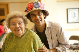 Mary Depaulo (Quince) and Co-producer Noah Brody smile for the camera. Photo by Genevieve Russell.