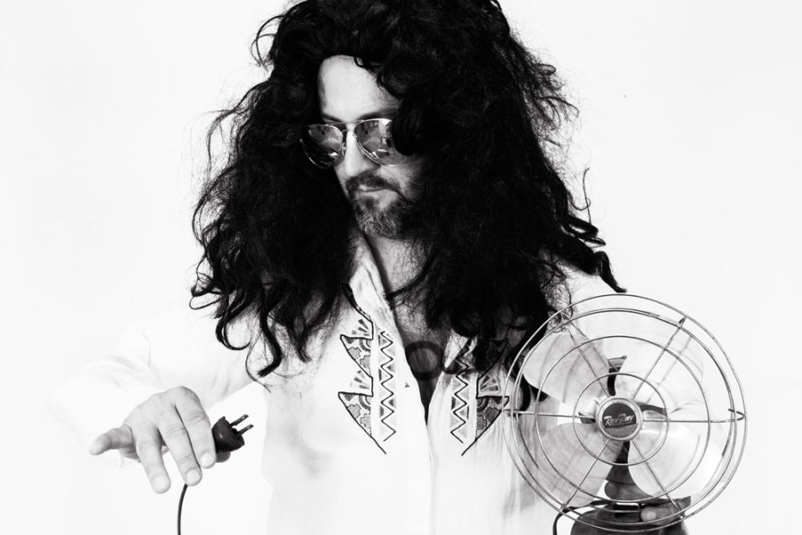 Ross Hamlin, adjunct faculty in the Contemporary Music program, recreates famous image of rock legend Frank Zappa. Photo by Jessie Leigh