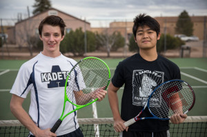 Tennis Club members Brendan Boyle (Vice President), and Shawn Khounphithack (President).  Photo by Jessie Leigh