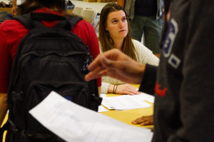 Assistant production coordinator Corrine Butler, speaks with students during the 'Manhattan' job fair on April 7, 2015. Photo by Luke E. Montavon