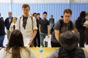 Students from various departments line up to get their five minutes with a representative from a department of 'Manhattan' on April 7, 2015. Photo by Luke E. Montavon