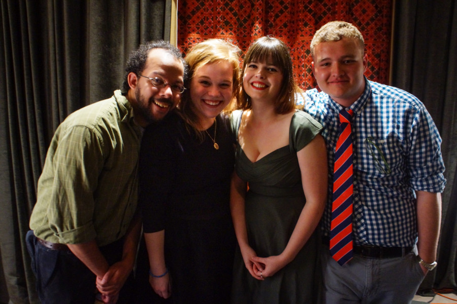 From left, 'The Young Professionals' Brandon Brown, Jacey Ellis, Zoe Baillargeon and Nick Martinez on April 14, 2015. Photo by Luke E. Montavon