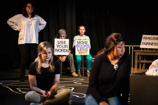 "Students during a powerful rehearsal of the SFUAD production, ""Borders: Crossing the Line"".  Photo by Jessie Leigh"
