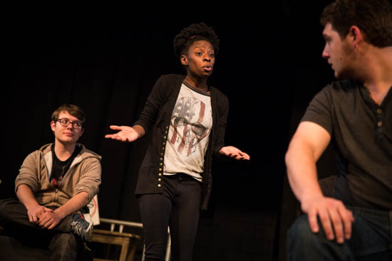 "Students during ""Borders: Crossing the Line"" rehearsal.  Photo by Jessie Leigh"