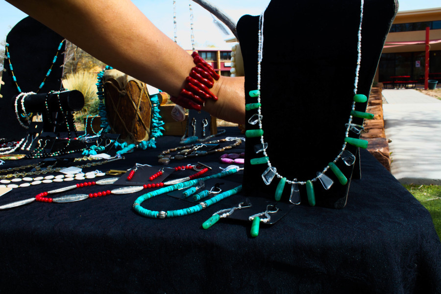 Traditional turquoise and a chili bracelet express the mix of New Mexican culture. Photo by Charlotte Martinez