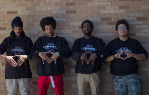 Left to right members of Spacemob Spacecadets: Planet Lex, R.E.D SupaNova, D Liteyear, and Ridd Spac3L33 PRIME.