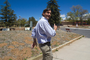 "Donovan ""traveling"" through campus; places to research, observations to make! Photo by Cydnie Smith-McCarthy"