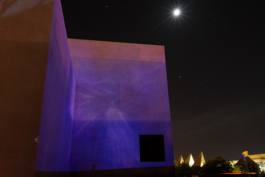 Chris Stahelin's projection piece during the rehearsal for Outdoor Vision Fest. Photo by Ash Haywood.