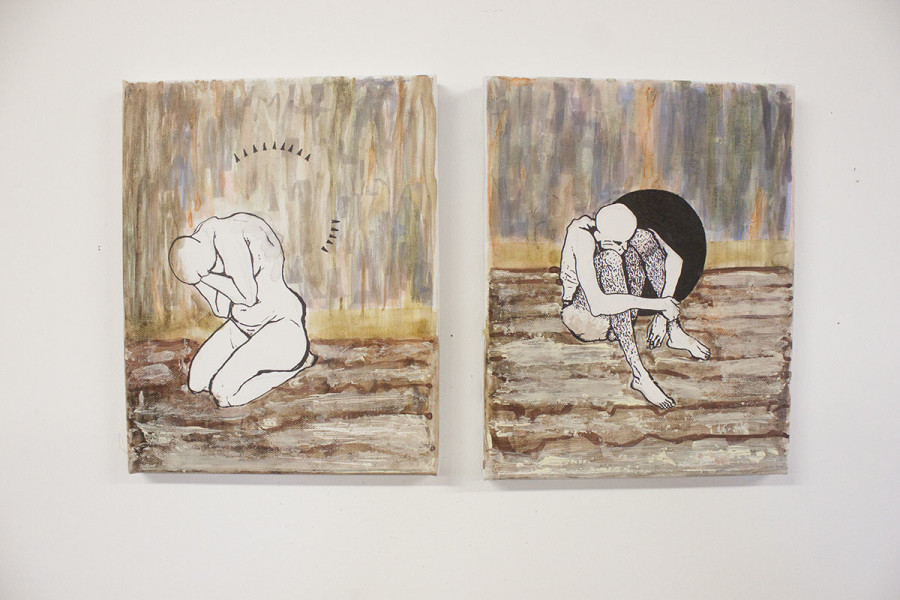 "A series of paintings by Stephanie Thompson, tentatively titled, ""The Space Between."" Photo by Andrew Koss"