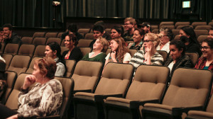 Students of SFUAD gather at The Screen to participate in the Manhattan Q&A. Photo by: Cydnie Smith-McCarthy