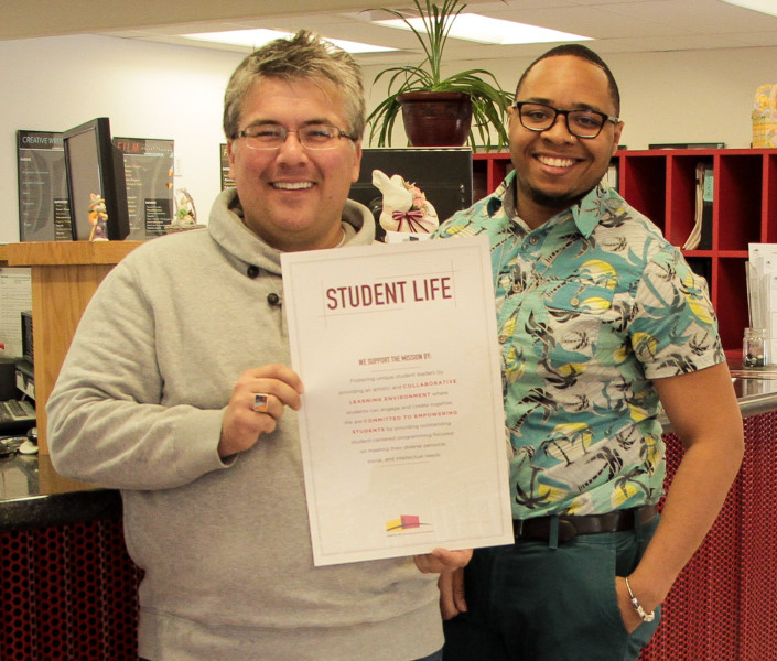 Student Life dynamic duo show off their mission statement. Photo by Cydnie Smith-McCarthy