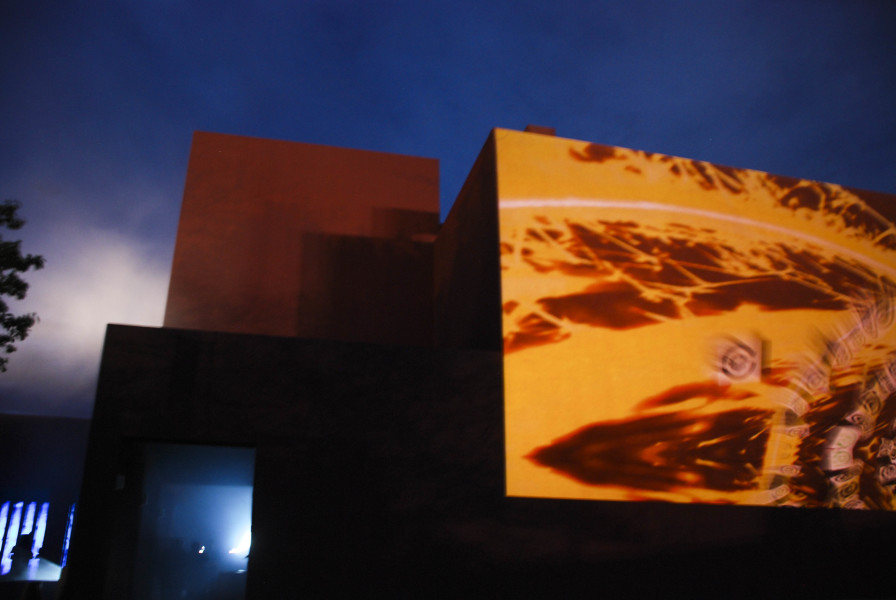 The projection on the art building when entering OVF. Photo by Cydnie Smith-McCarthy
