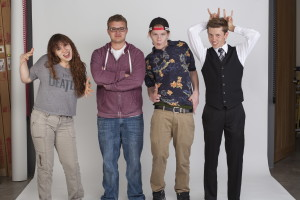 Four graduating members of the original Jackalope Magazine, (from left to right) Charlotte Martinez, Nick Martinez, Nick Beckman, Luke Montavon