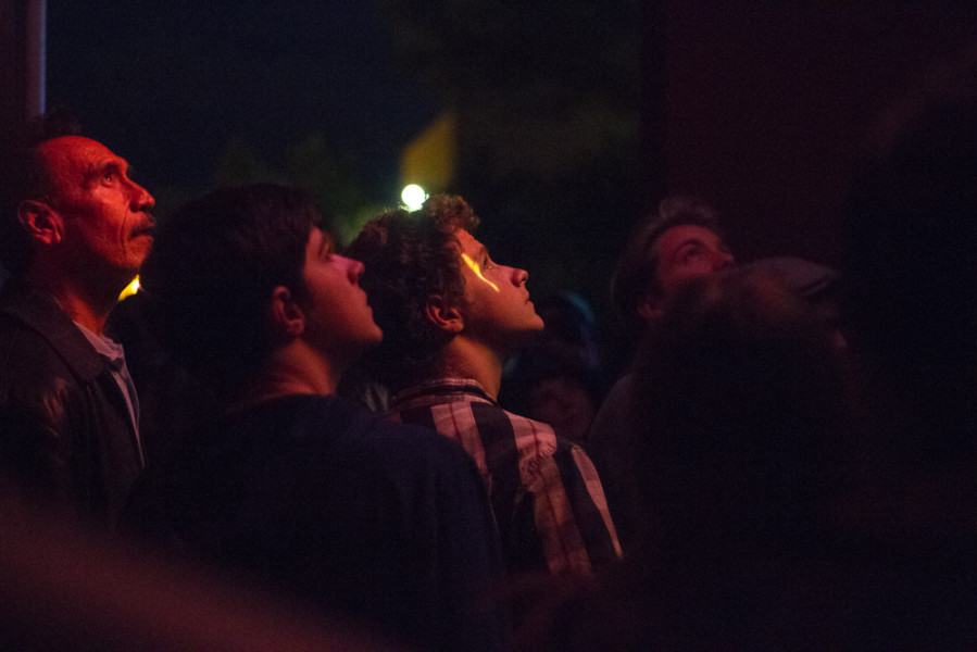 OVF goers admiring the mind mapping projection installation. Photo by  Ash Haywood.