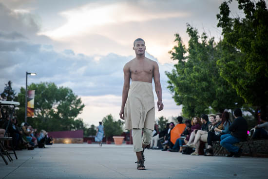 Darnell Thomas on the runway at the C.R.E.A.M fashion show.  Photo by Jessie Leigh