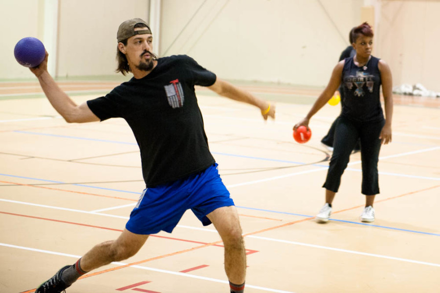 Zach Greer takes aim at an opponent during a dodgeball event on Sept. 16, 2015. Photo by Forrest Soper.