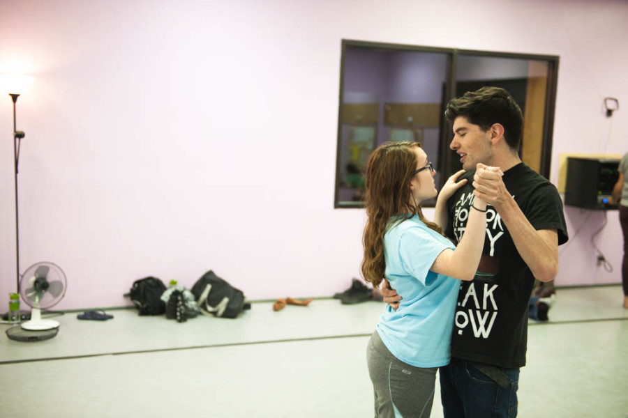 Students rehearse blocking for the New Student Show. Photo by Forrest Soper.