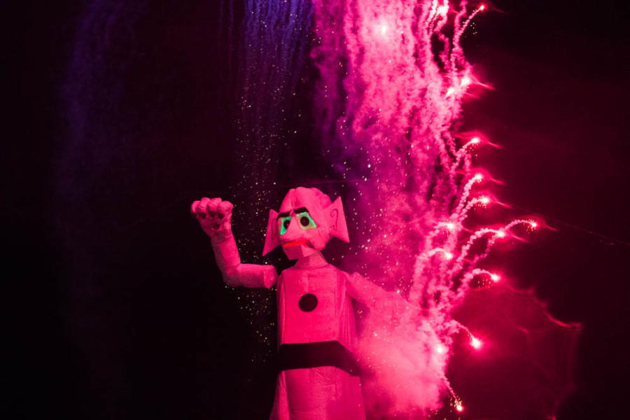 Approximately 48,000 people braved the rain to attend the 91st burning of Will Shuster's Zozobra on Sept. 4 2015. Photo By Kyleigh Carter.