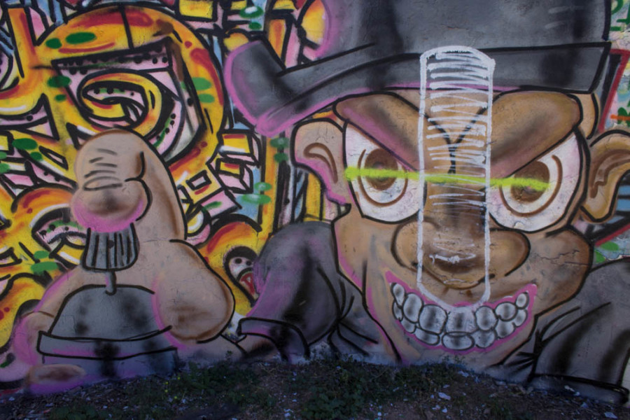 Free graffiti wall outside of King dormitory on campus. Photo by Kyleigh Carter.