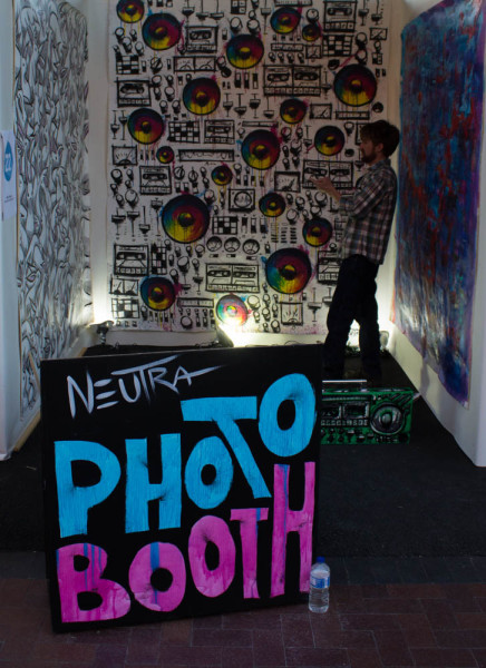 People take advantage of the free photo booth. Photo by Kyleigh Carter.