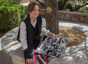 Creative writing major Michaela Rempel and her comic Blind Tiger. Photo by Kyleigh Carter.