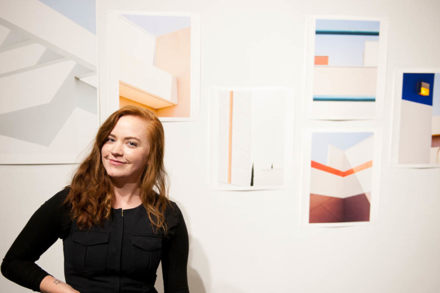 Hayley Rheagan stands in front of her work in the Picture Space Show. Photo by Forrest Soper.