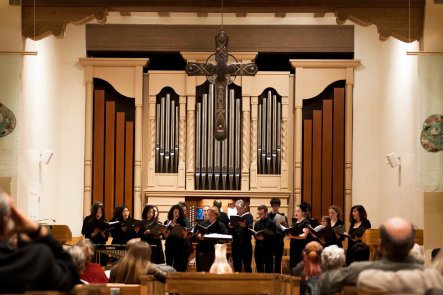 St. John's College Small Chorus performing at the First Presbyterian Church. Photo by Forrest Soper.