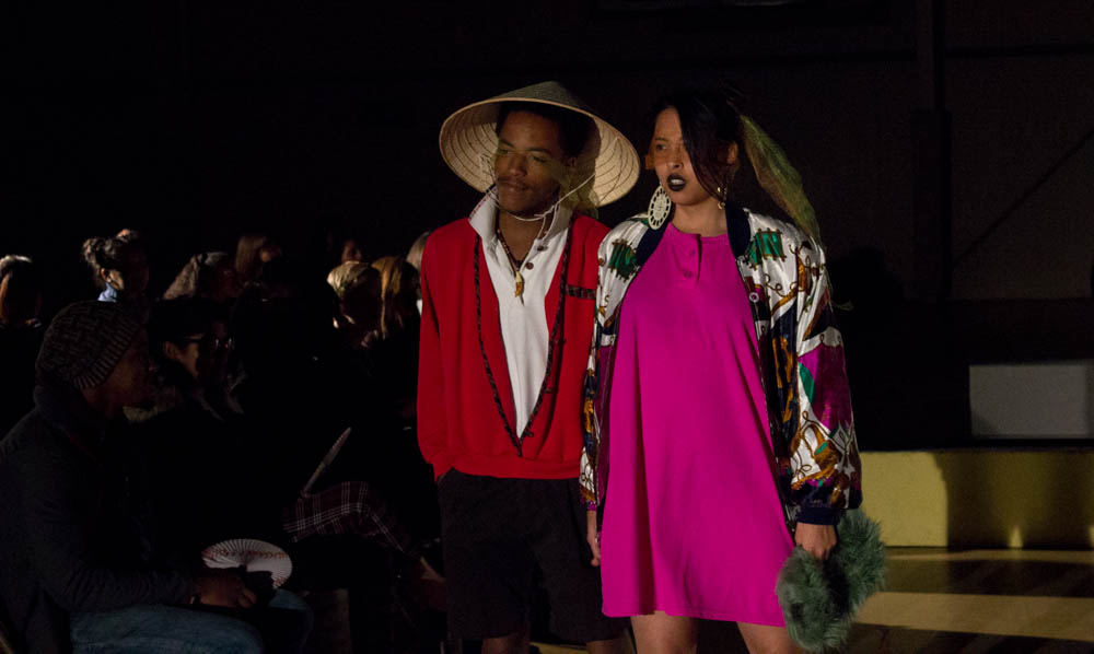 Charles Simon and Sara Oquendo strut their stuff at the fall fashion show. Photo by Kyleigh Carter.