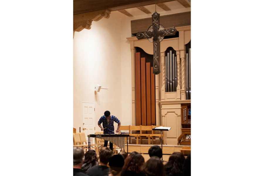 Thulani Mason Plays the vibraphone at the First Presbyterian Church on Nov. 18. Photo by Forrest Soper.