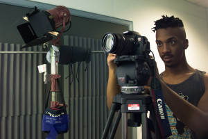 Charles Austin setting up the camera. Photo by Richard Sweeting