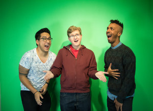 Alvie, Max, and Charles having post-filming fun. Photo by Richard Sweeting