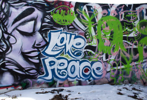 One of the graffiti walls outside of King Dormitory. Photo by Kyleigh Carter.