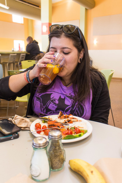 Sen Salinas, a senior Studio Arts major, enjoys her lunch break before her next class. Photo by Marco Rivera