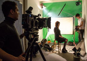 Bunee Tomlinson shoots his actress Rachel Woolery on the set of Lady Bug. Photo by Rebeca Gonzalez