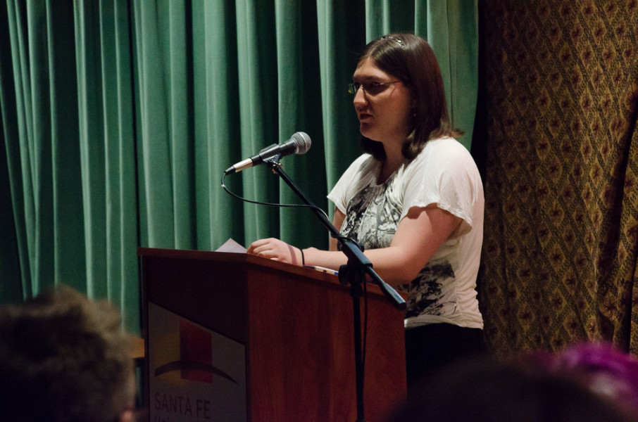 Senior Reader Allandra Kelly was in the first batch of the spring senior readings. Photo by Rebeca Gonzalez