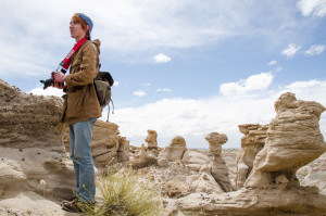 Ty Duke hikes through the formations of Bisti De-Na-Zin Photo by Rebeca Gonzalez