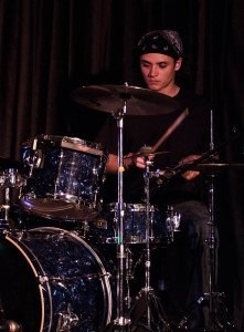 Anthony Hester playing the drums at his senior show April 15th. Photo by Christy Marshall