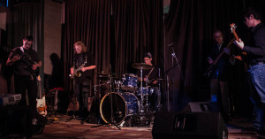 Nick Hudson, Max Callahan, Anthony Hester, Kyle Driscoll, Nick Quintero playing at Anthony Hester's Senior show. Photo by Christy Marshall