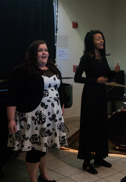 Elise singing a duet with Contemporary Music major Tawanda Suessbrich-Joaquim. Photo by Whitney Wernick.