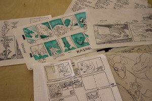 A close up of Ronnie Garcia's sketches for her comic book. Photo by Kyleigh Carter.