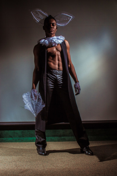 Terrell Armstrong shows the look he walked for the April Showers fashion show. Photo by Marco Rivera