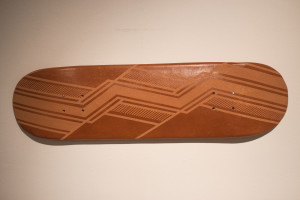 A micaceous clay skateboard made by Marina Eskeets. Photo by Marco Rivera.