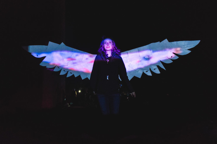 WIngs of light projected on wings of metal creating an interactive installation at OVF. Photo Richard Sweeting