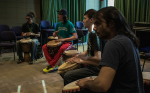 The African Drum Ensemble practices in O'Shaughnessy hall before their big performance. Photo by Richard Sweeting